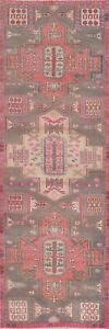 Vintage Geometric Traditional Oriental Runner Rug Hand-knotted Wool Carpet 3x9