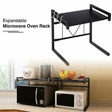 GEMITTO Extendable Microwave Oven Rack Heavy Load Microwave Shelf Stand with 3