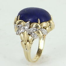 Lapis Lazuli Diamond Cocktail Ring Vintage 18k Yellow Gold Estate Fine Jewelry