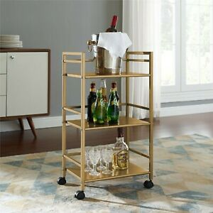 Classic Rolling Mini Bar Gold Tone Wood Serving Trays Liquor Cart Retro Trolley