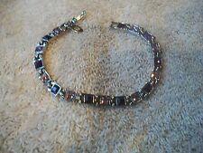 "NOLAN MILLER Signed Tennis Bracelet Pink & Purple Austrian Crystals 7"" Grt Gift"