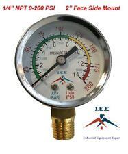 New Air Pressure Gauge Air Compressor Hydraulic 2 Face 0 200 Side Mnt 14 Npt