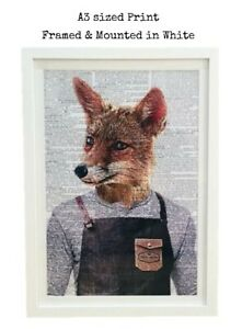 A3 Fox Framed Dictionary Page Print Art Picture Hipster Barbers Apron Animal