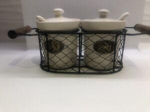 Pottery Cream Beige Honey Pot & Jam Pot with Spoon in  Wire Basket Set