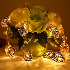 10 LED Tree Leaf Battery Operated String Lights Metal Ornament Lamp Decor Fairy