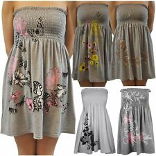 Womens Plus Size Grey Floral Strapless Sheering Boobtube Summer Beach Tops 8-20
