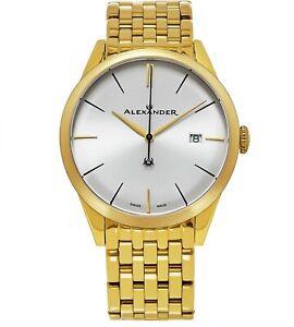 Alexander Mens Swiss Made Yellow Gold Stainless Steel Link Bracelet Quartz Watch
