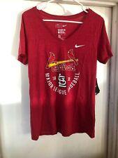NWT Women's NIKE St. Louis Cardinals V Neck Nike Tee Shirt Sz Medium Dri-Fit #14