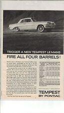 Original 1962 Pontiac Temtest LeMans Magazine Ad - Fire All Four Barrels