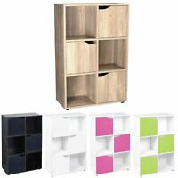 Wooden 6 Cube 3 Doors Storage Unit Cupboard Bookcase Shelving Display Shelves