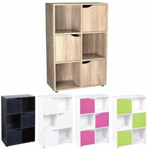 Wooden 6 Cube 3 Doors Storage Unit Cupboard Bookcase Shelving Display Shelves