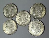 Lot of 5 Choice AU 1921 Morgan Silver Dollars Philadelphia Mint