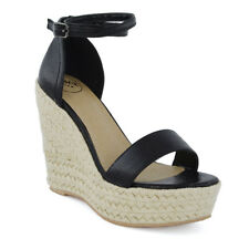 Womens High Wedge Heel Platform Sandals Ladies Ankle Strappy Peeptoe Espadrilles UK 7 / EU 40 / US 9 Black