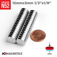 "12 100 500pcs 12mm x 3mm 1/2"" x 1/8"" N52 Strong Rare Earth Neodymium Magnet Disc"