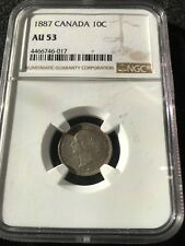 **1887**, NGC Graded Canadian,  10 Cent, **AU-53**