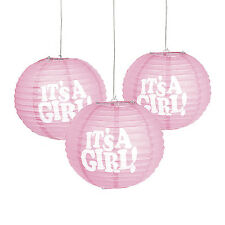 "(3) 10"" BABY SHOWER HANGING PARTY DECORATIONS PINK it's a GIRL balloon lanterns"