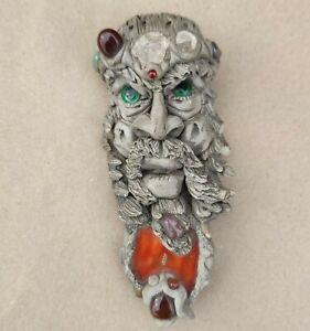 Rare Antique Handmade Small Carved Face Hanging With Original Gemstones Art 15cm