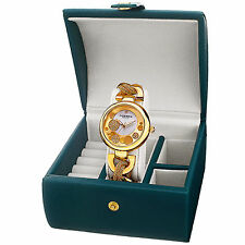 Women's Akribos XXIV AK895YG-BX Diamond Twist Chain Watch & Jewelry Gift Box Set
