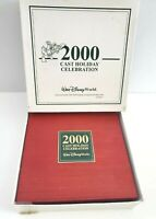 "Disney World Cast Member ""2000"" Holiday Celebration 5 Pin Set in Wooden Box"