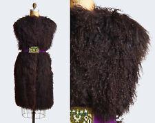 Vintage 70s Boho LAMB Fur Vest / 1970s Shaggy CURLY Lamb Long Coat l
