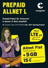 Congstar Allnet L?15 ? Startguthaben?5 GB Datenvol. ??Handy Prepaid SIM Karte