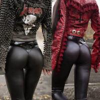 Pantalon Moulant en Simili Cuir Coupe Slim Stretch Extensible Noir Taille Haute#