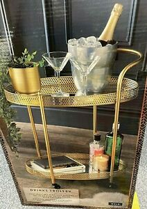 DECO Glamour Drinks Trolley 2 Shelf's Gold finish mini bar Luxury