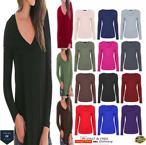 Womens Ladies V Neck Long Sleeve Stretchy T-Shirt Plain Slim Fit Basic Top 8-26