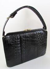 VTG Black CROCODILE Satchel Handbag