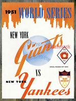 MLB Program 1951 World Series Cover REPRINT Yankees vs Giants 8 X 10  Photo