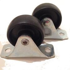Pack de 2-roues fixes noir en nylon roulettes (40mm x 17mm Roue) - 66 X 25 Plaque