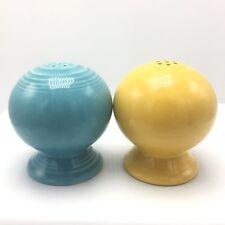 Fiestaware Salt & Pepper Shakers Round Ball Sunflower Marigold Yellow Turquoise