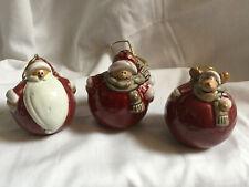 Conjunto de 3 cerámica redonda de lujo padre de árbol de Navidad Bolas