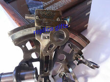 NAUTICAL ANTIQUE MARITIME BRASS SEXTANT WITH WOODEN BOX VINTAGE COLLECTIBLE 4''