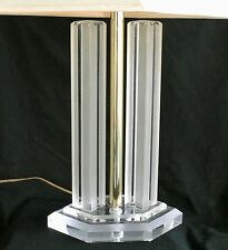 Vtg/Retro Mid Century Modern Lucite & Brass Twin Skyscraper Table Lamp