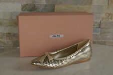 original MIU MIU par PRADA 38 Ballerines Mocassins Chaussures platine neuf