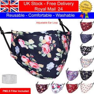Adult Cotton Face Mask Washable Reusable Floral Designs with PM2.5 Filter Pocket