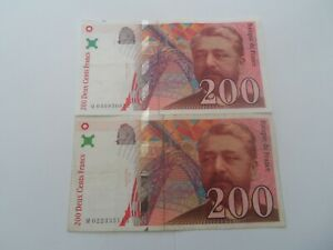lot de 2 billets 200 francs eiffel 1996 m.022/q.040