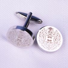 Round Helios Phoenix Silver Cuff Links Men's Jewelry Cufflinks w Luxury Flap Box