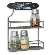 Mason Jar Two Tier Spice Rack Farmhouse Style 370077T