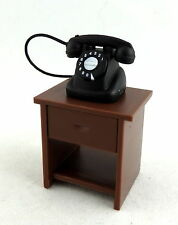 Dolls House 1:24 Scale Miniature Hall Furniture Side Table & Telephone Magnetic