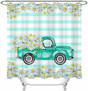 Blue Yellow Retro Pickup Truck Daisy Country Floral Fabric Shower Curtain