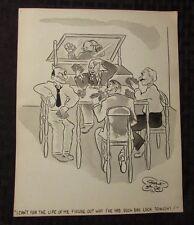 Vintage Charles Chas Sage 8x10 One Panel Gag Original Art Wash POKER CHEATING