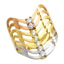 14K Solid Three Tone Gold CZ Seven Day / Semanario Large Fancy Lady's Ring