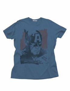 Adult Slate Junk Food DC Comics Superhero Captain America Face T-Shirt Tee