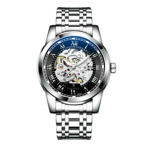 MENS STOCKWELL AUTOMATIC  WATCH STAINLESS STEEL STRAP GLASS BACK SKELETON DIAL