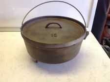 Vtg 3 Footed Cast Iron Dutch Oven No. 12 Bean Pot  Lid Raised Numbers