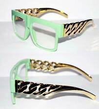 Cuban Link Gold Chain Kette Nerd Brille schwer metall Hip Hop mint Flat Top 632