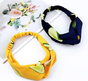 UK SELLER Summer Fruit Style Avocado Hair Bands Chiffon Headband Accessories