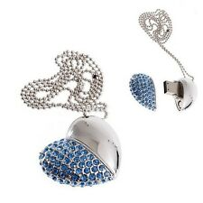 8 GB Flash Drive BLUE Crystal HEART PENDANT Necklace Jewelry Memory Stick - NEW